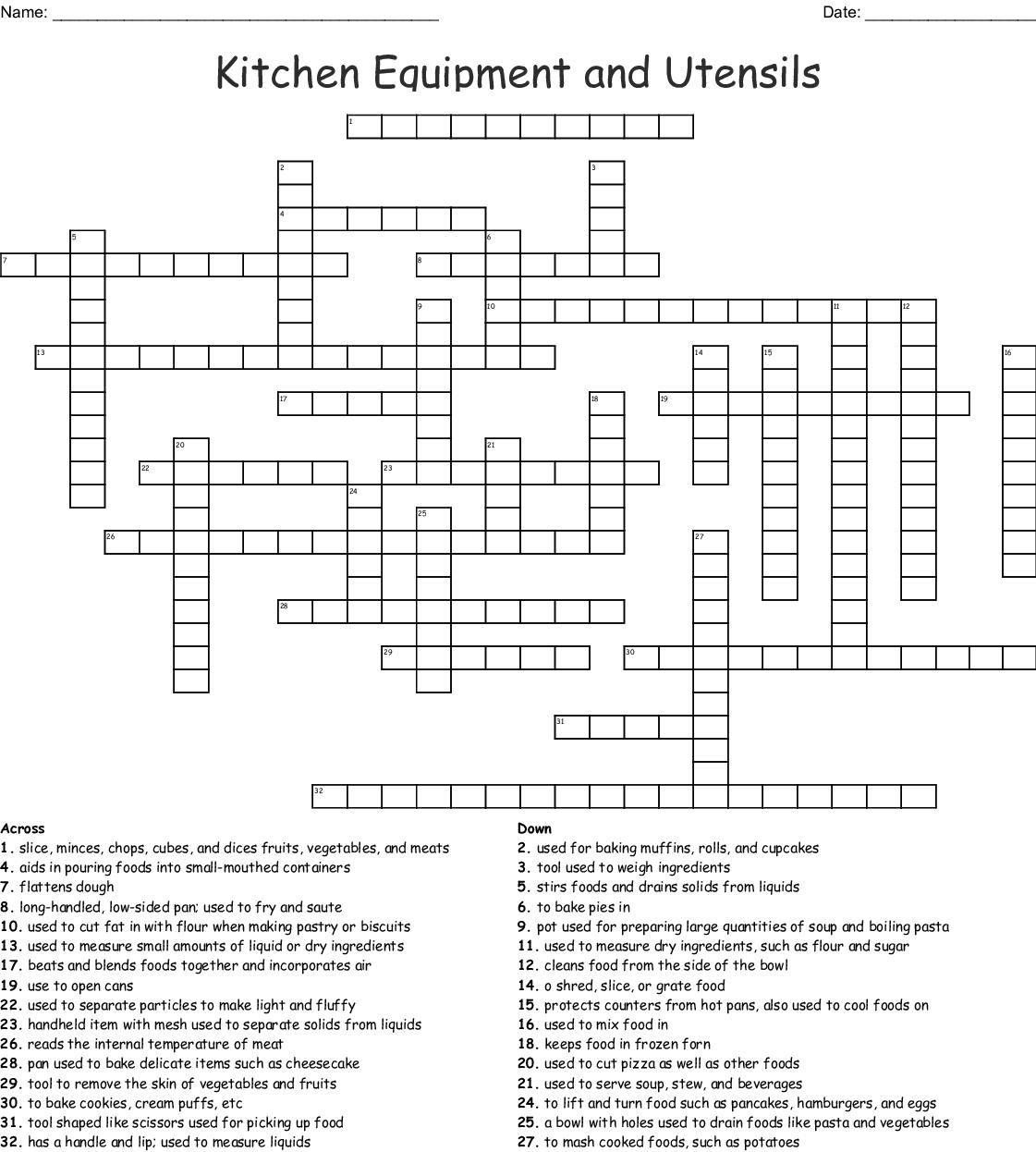 Some Kitchen Utensils Crossword