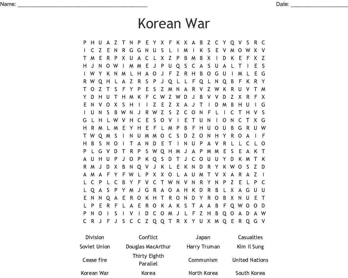 Korean War Word Search