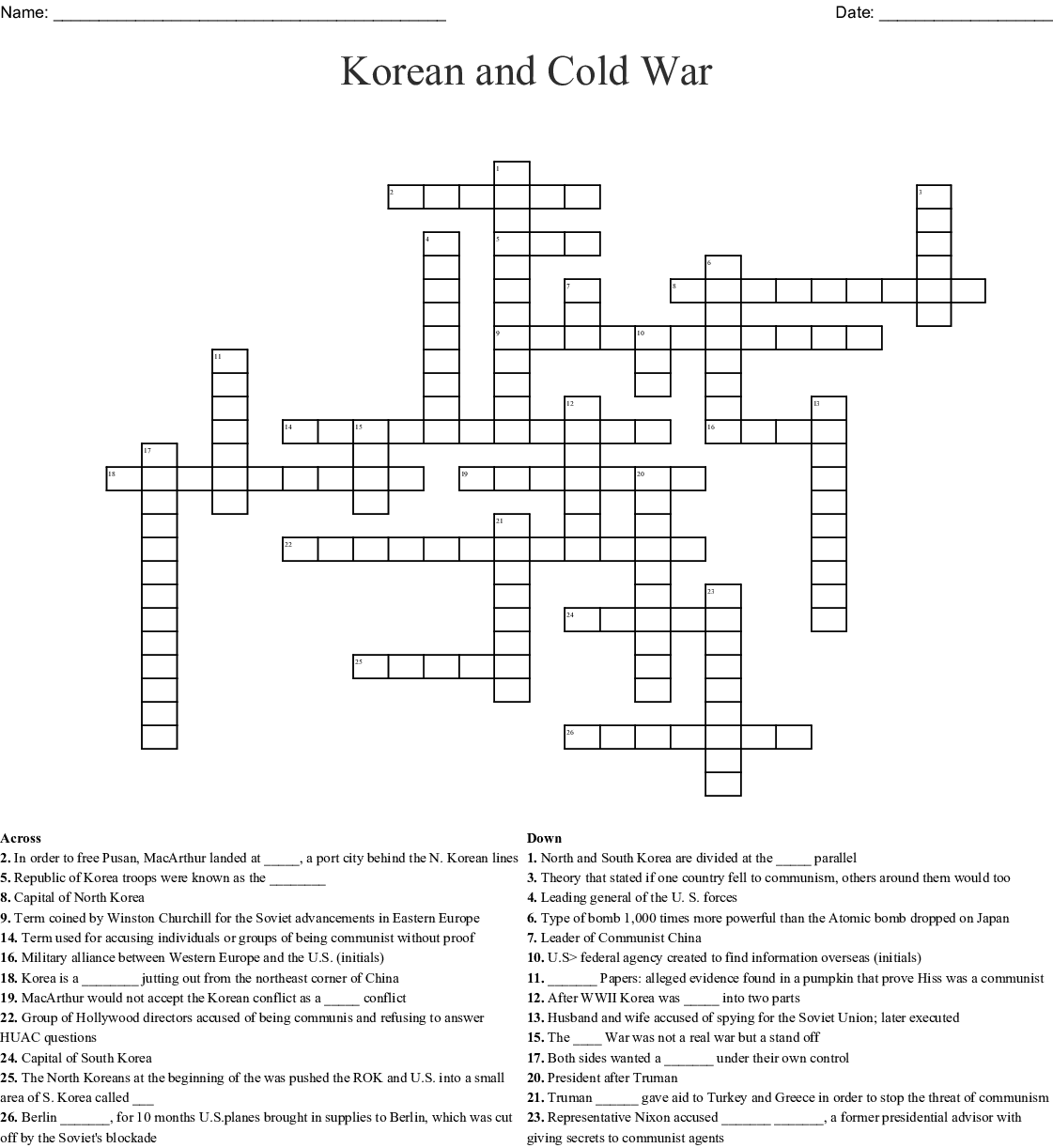 Korean War Japan Crossword Worksheet