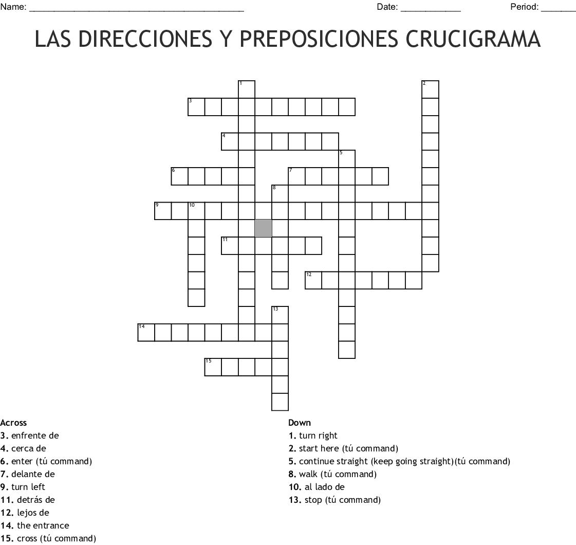 Las Preposiciones Crossword