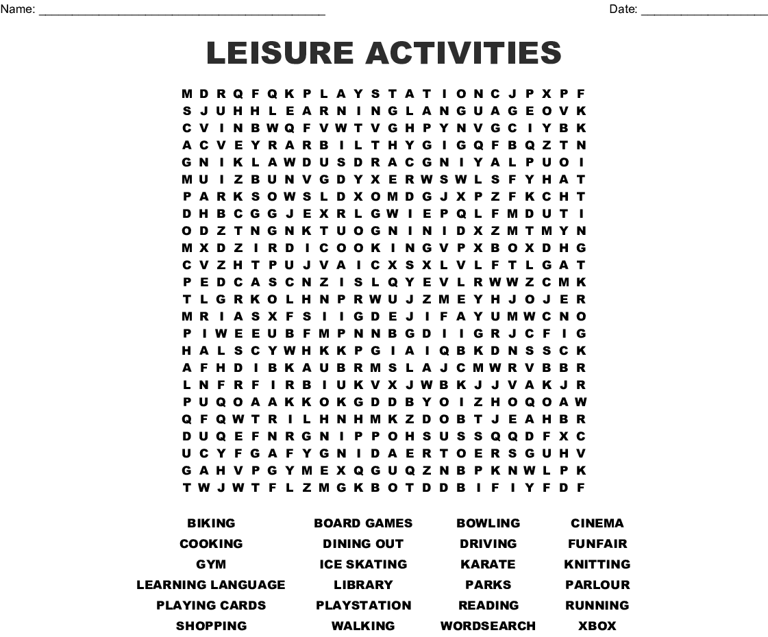 Leisure Activities Word Search