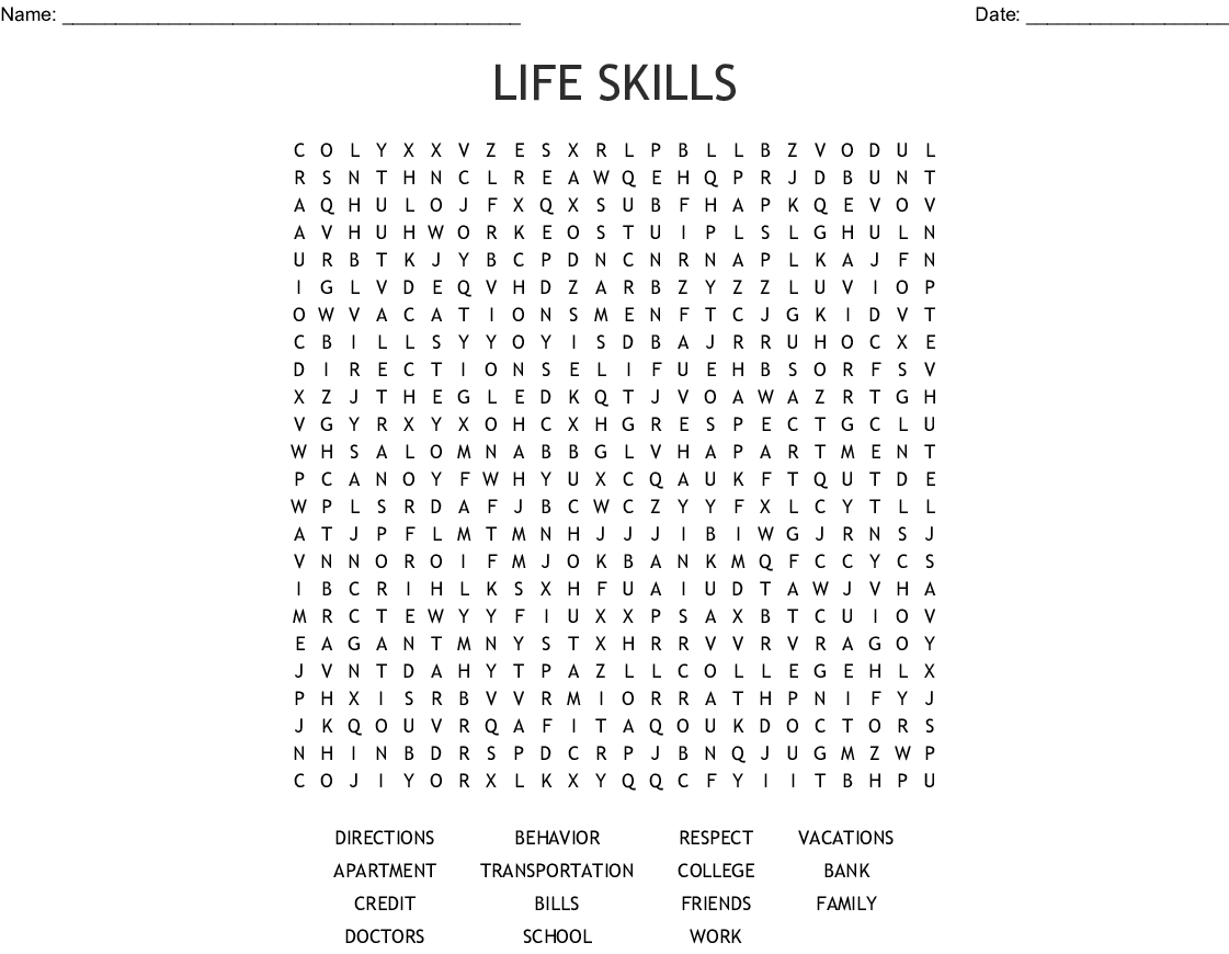 Life Skills Word Search