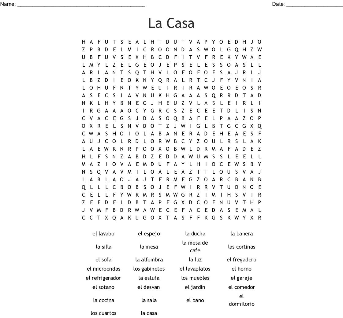 La Casa Word Search