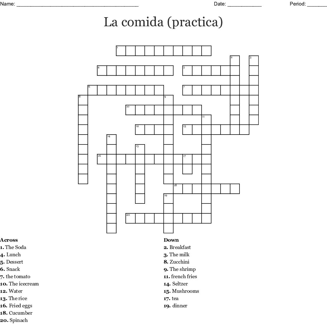 La Comida Practica Crossword