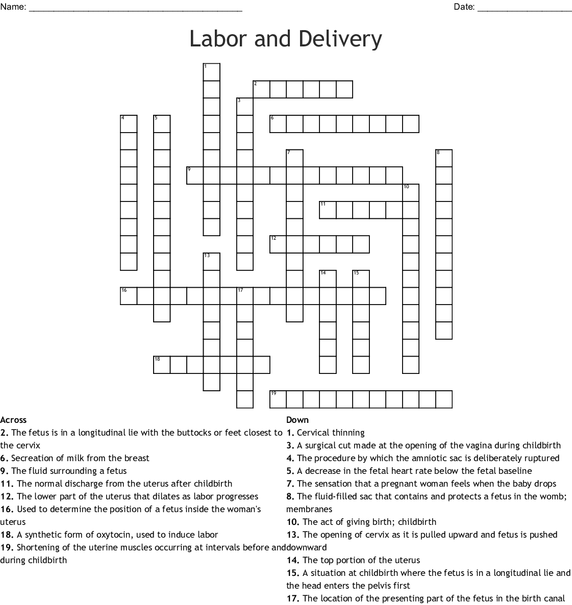 Labor And Delivery Word Search