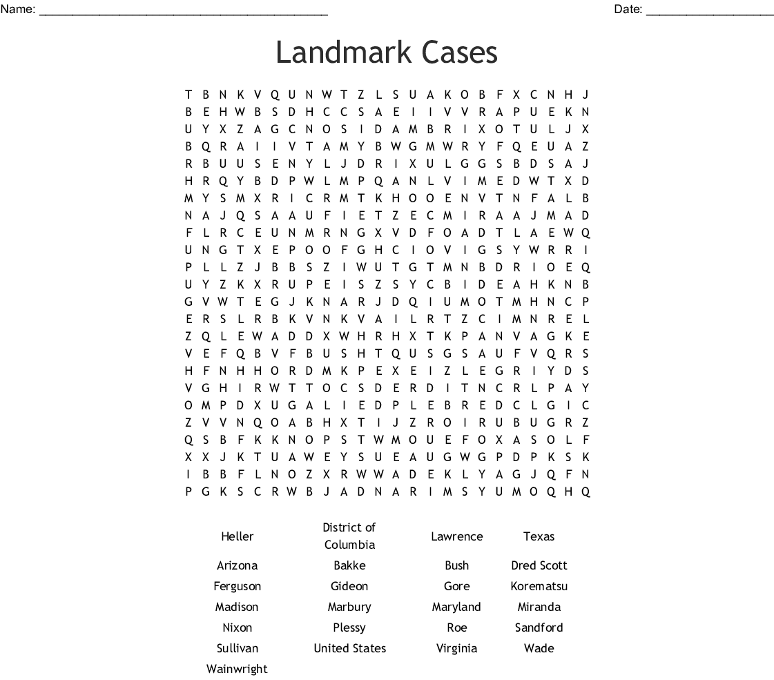 Supreme Court Cases Wordsearch
