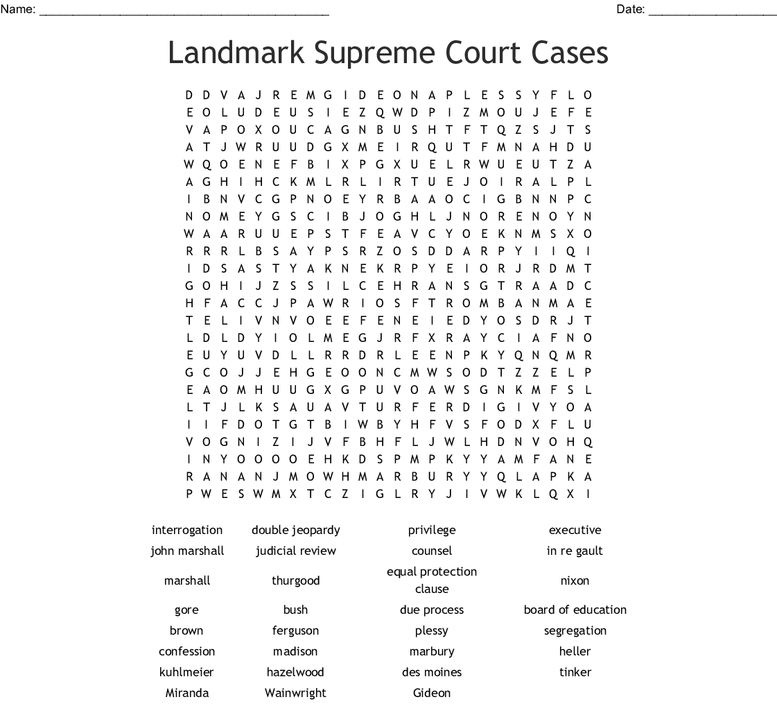 Landmark Supreme Court Cases Worksheet Answers