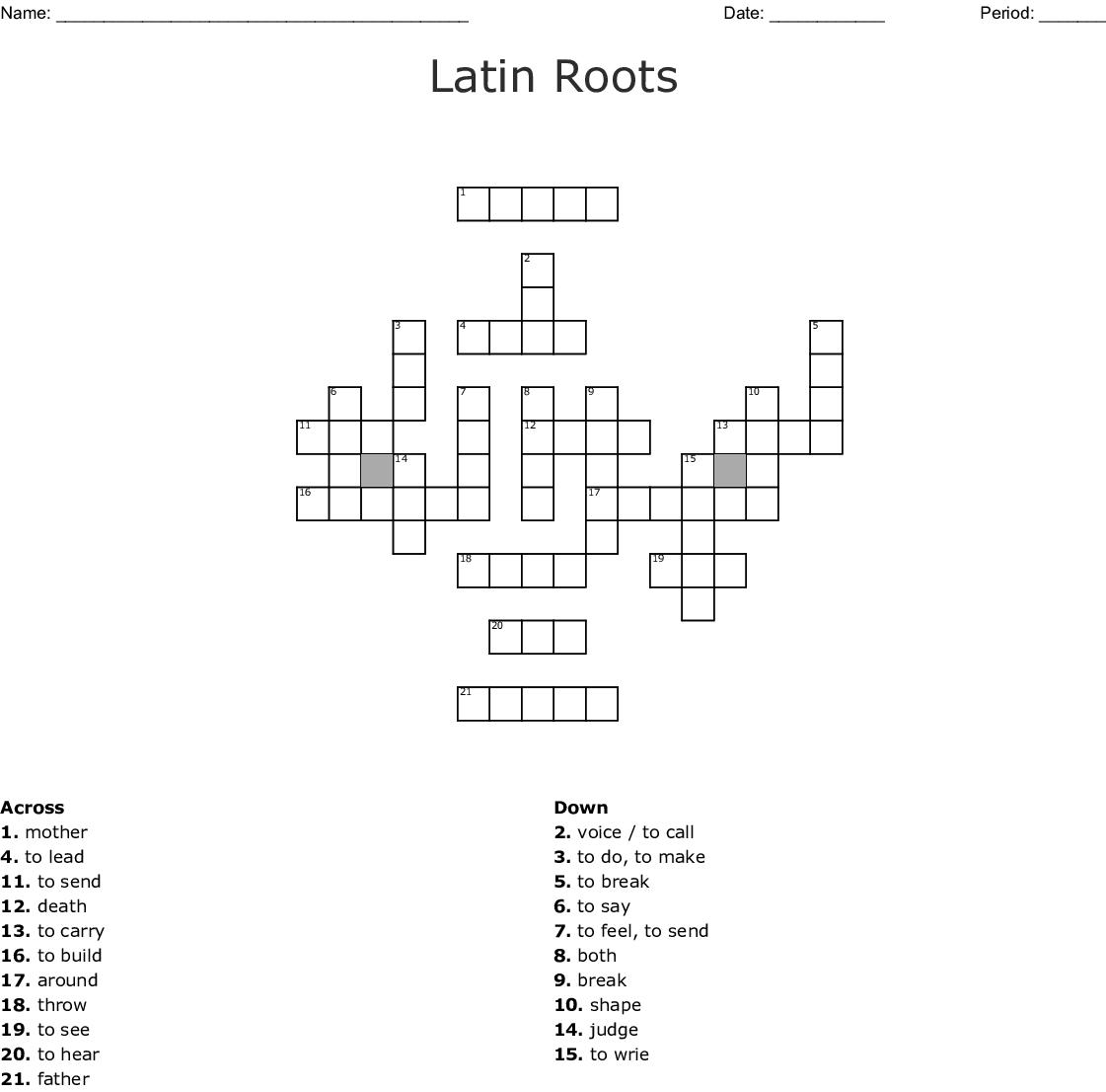 Root Words Worksheet