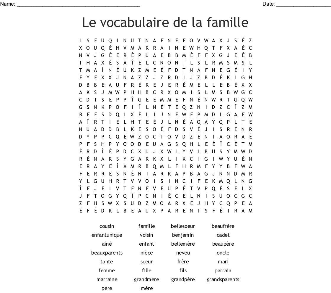 French Family Members Word Search