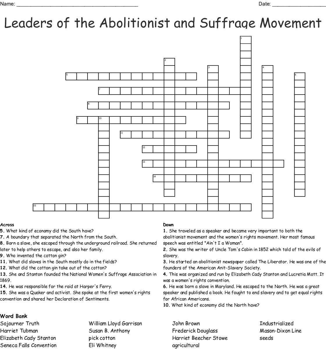 Leaders Of The Abolitionist And Suffrage Movement Crossword