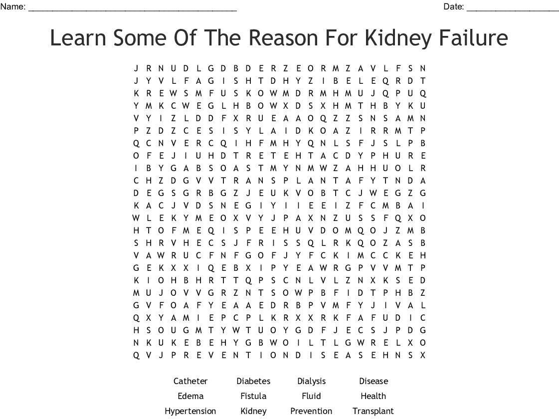 Chronic Kidney Disease Word Search