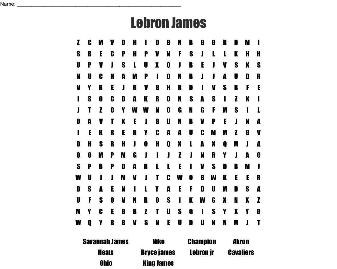 Lebron James Word Search