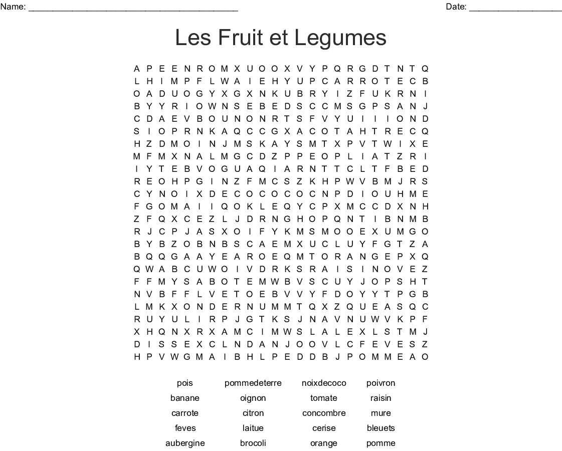 Les Fruit Et Legumes Word Search