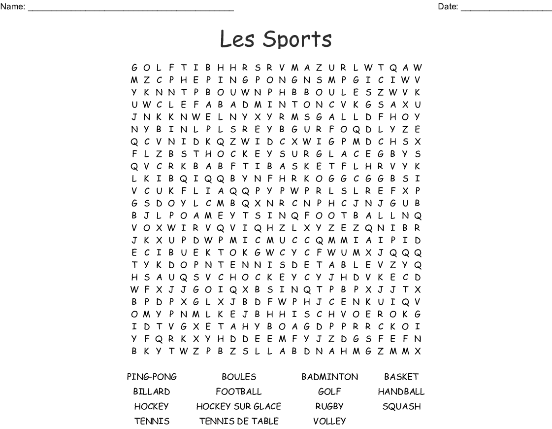 Les Sports Word Search
