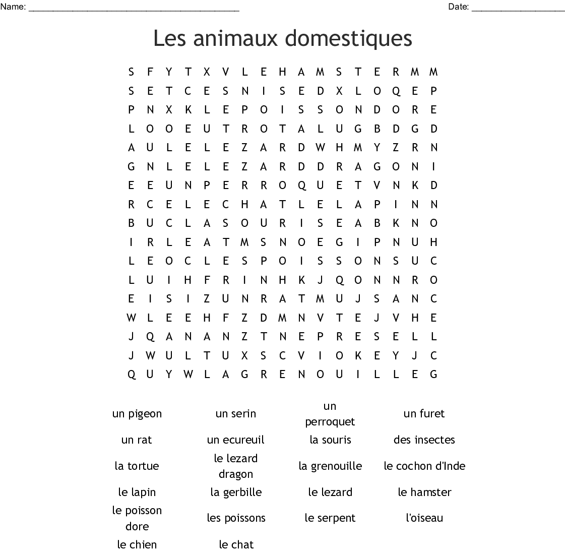 Les Animaux Word Search