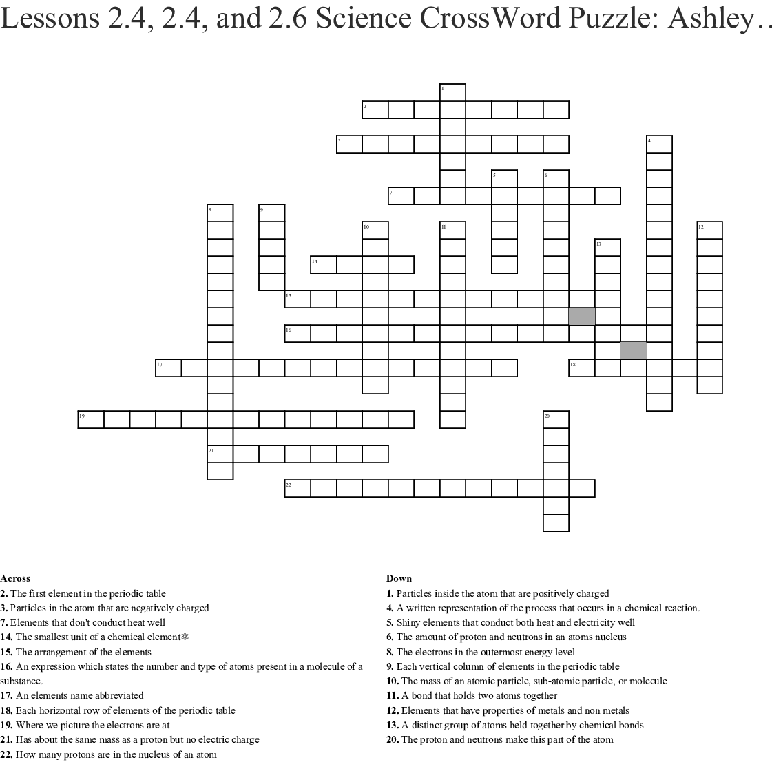 Lessons 2 4 2 4 And 2 6 Science Crossword Puzzle Ashley Hess Crossword