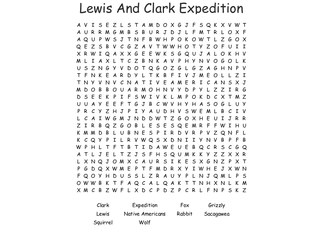 Lewis And Clark Expedition Word Search