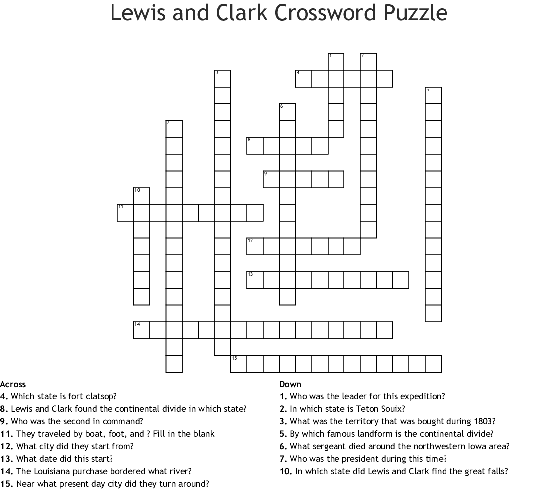 Lewis And Clark Expedition Crossword