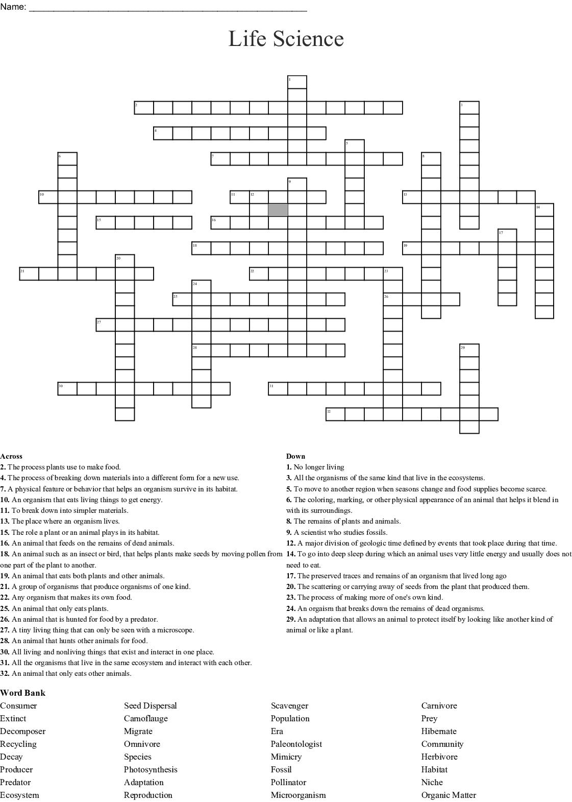 Habitat Amp Conservation Crossword