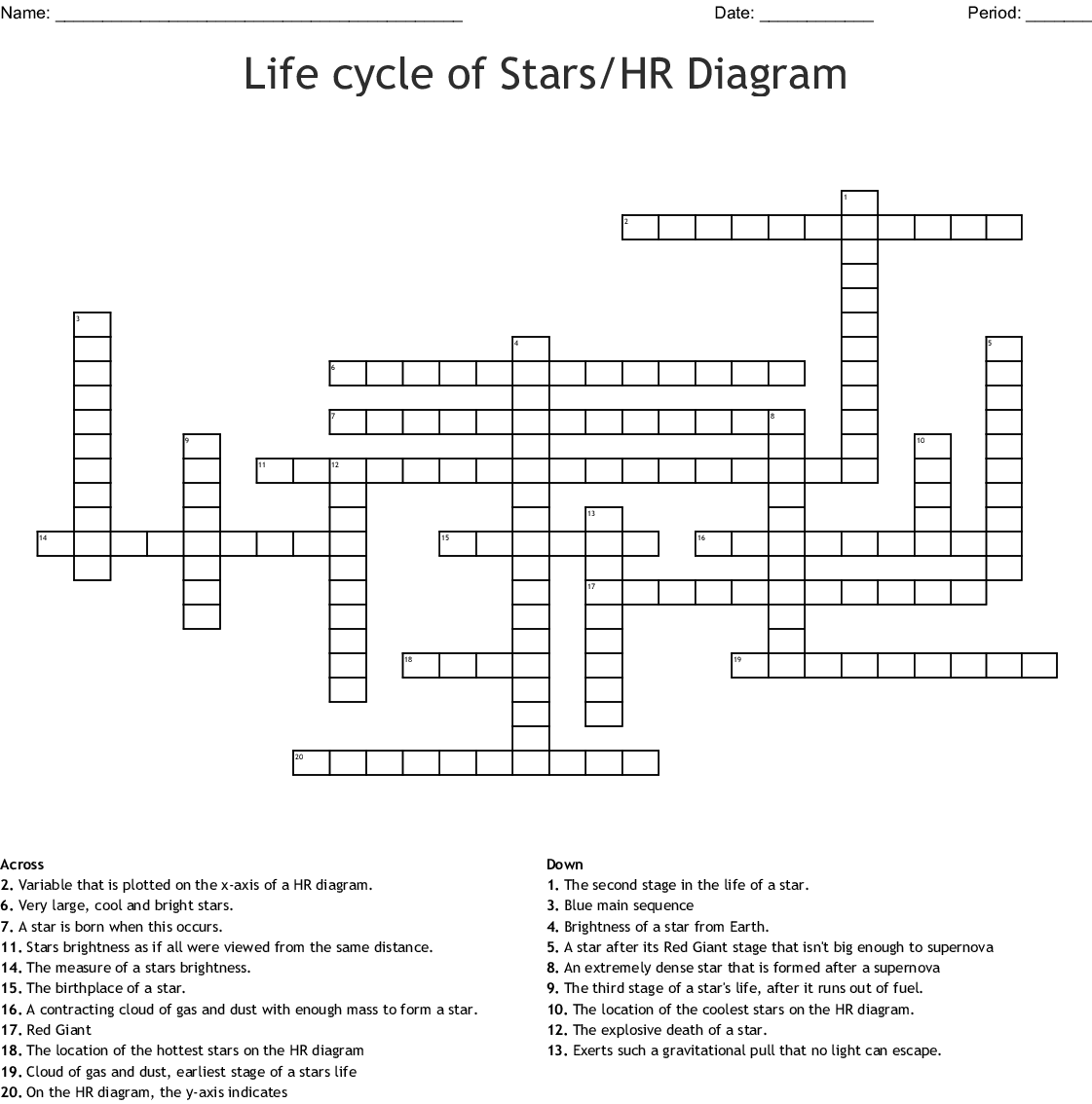 Life Cycle Of Stars Hr Diagram Crossword