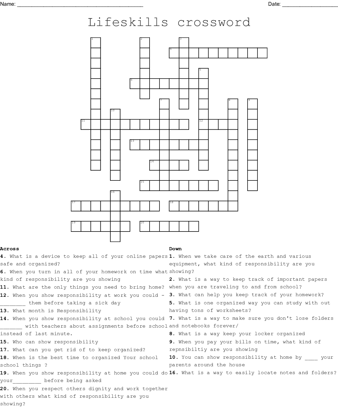 Coping Skills Crossword