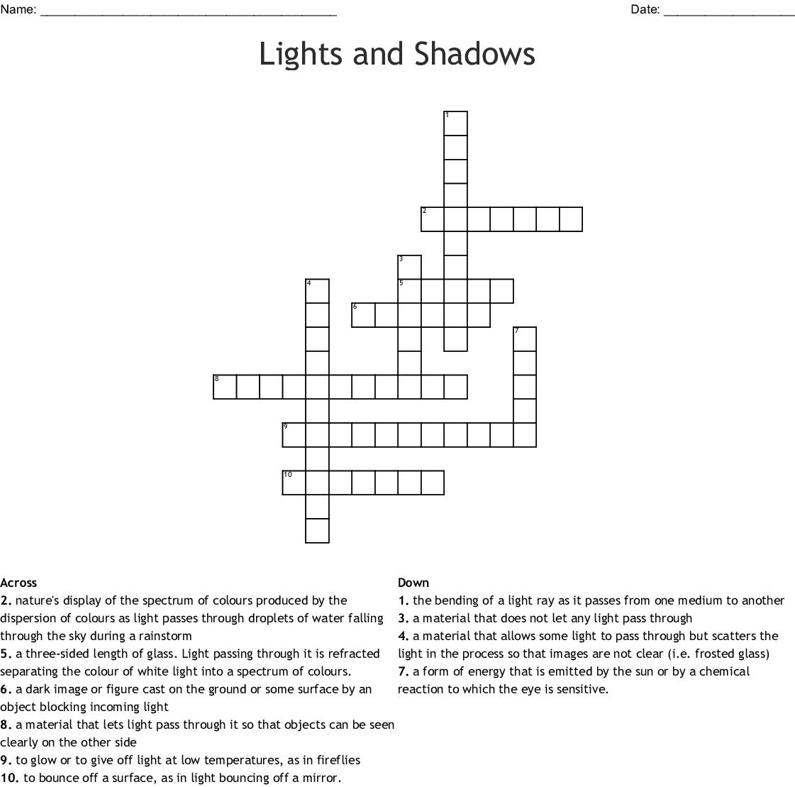 Light Crossword Puzzle Worksheet