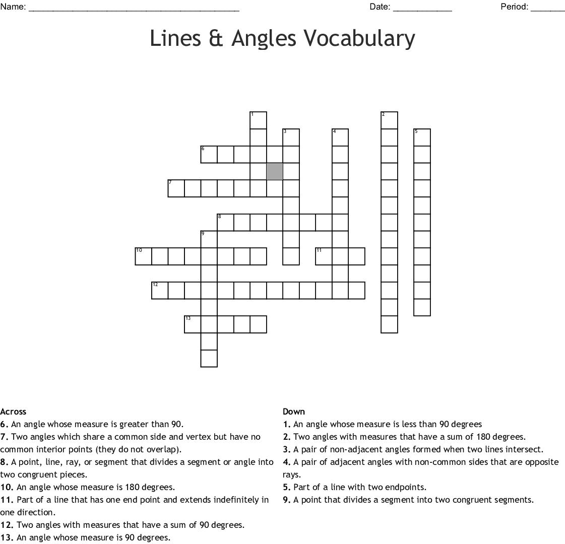 Geometry Terms Crossword