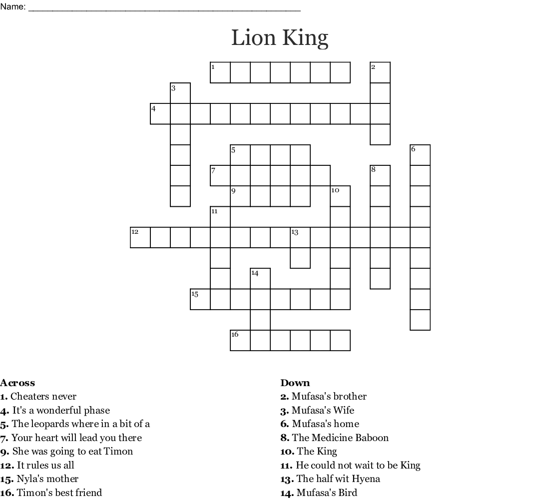 The Lion King Word Search