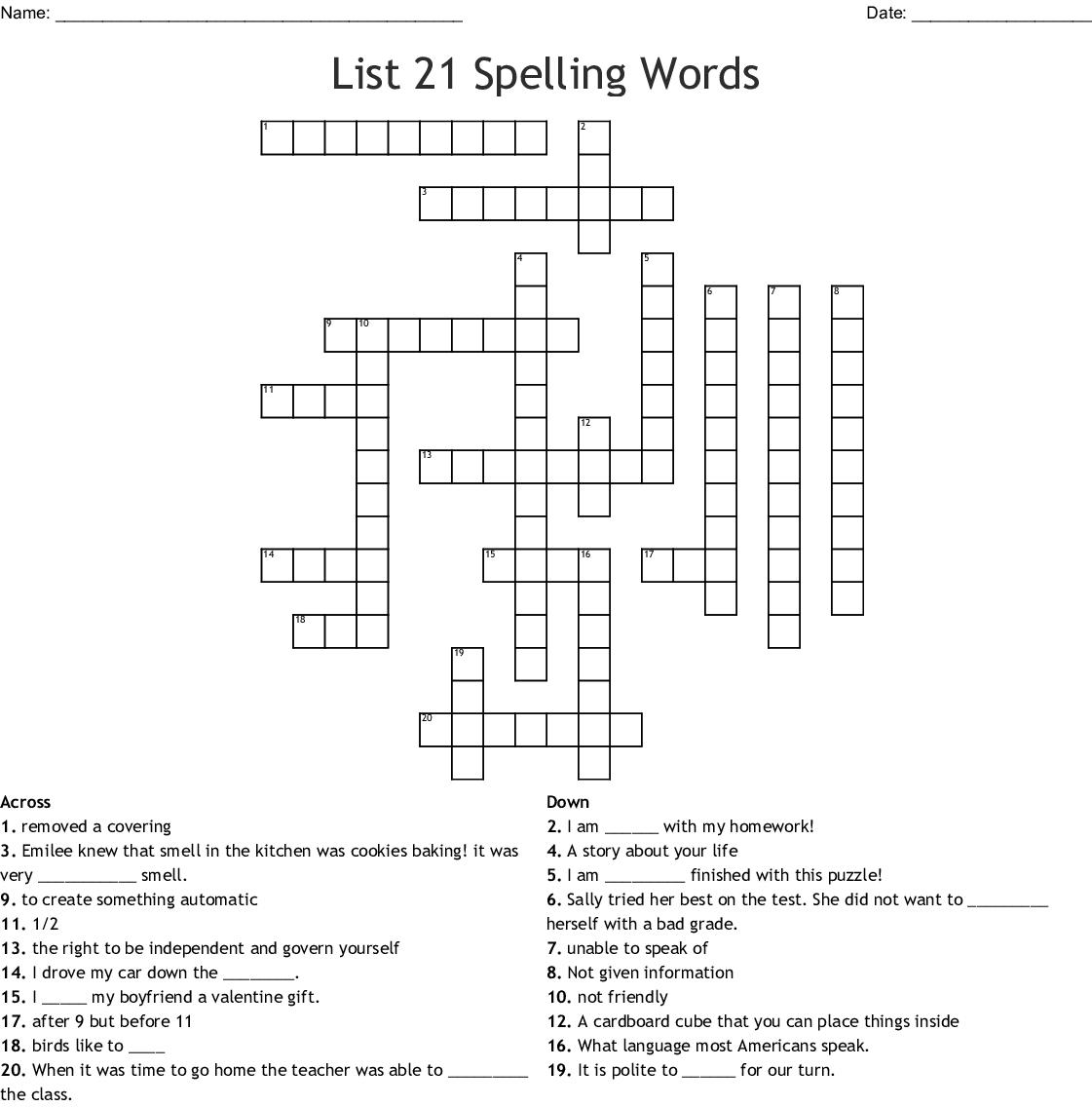 List 21 Spelling Words Crossword