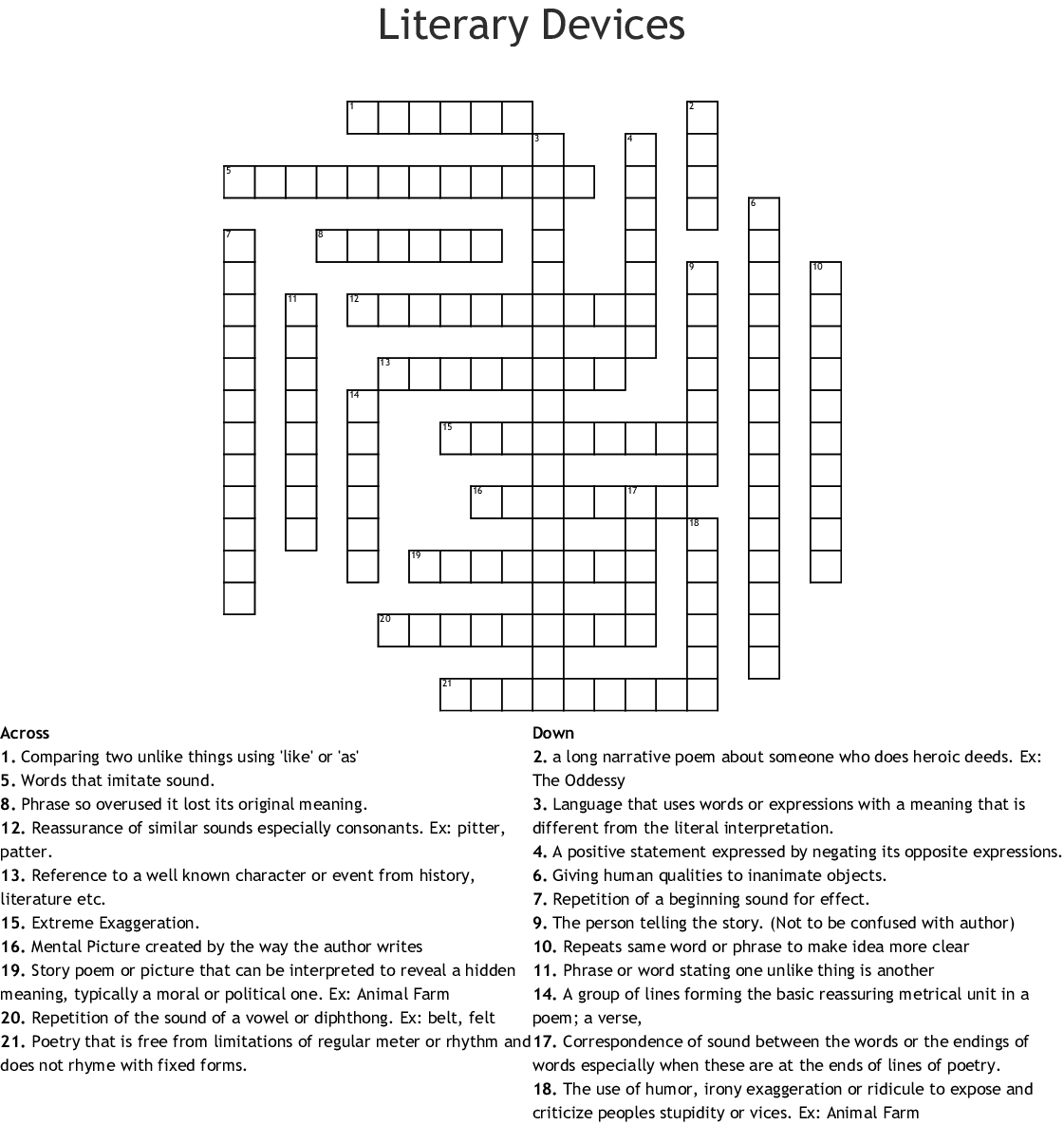 Literary Devices Crossword