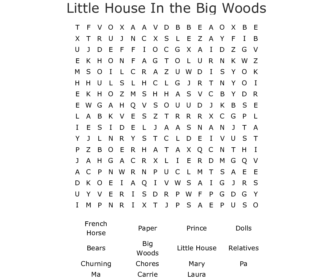 Little House In The Big Woods Word Search