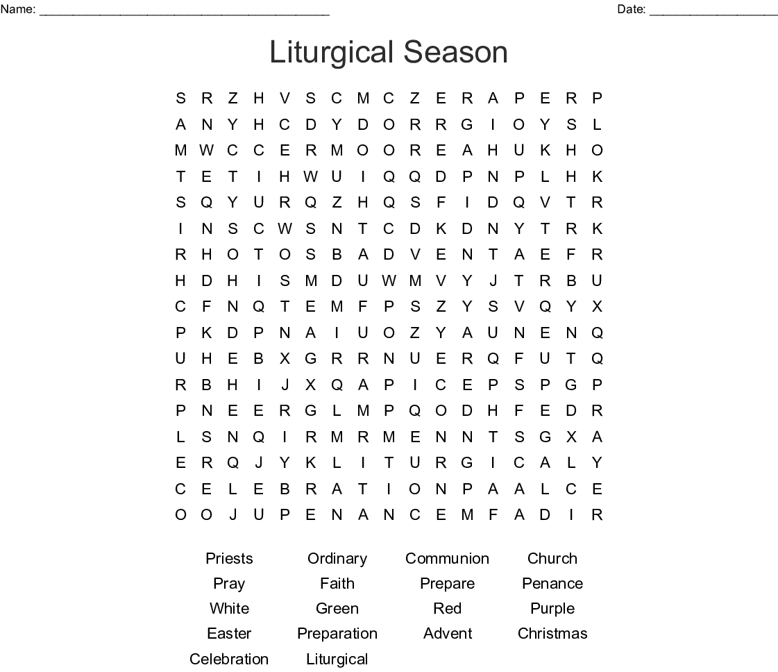 Liturgical Season Word Search