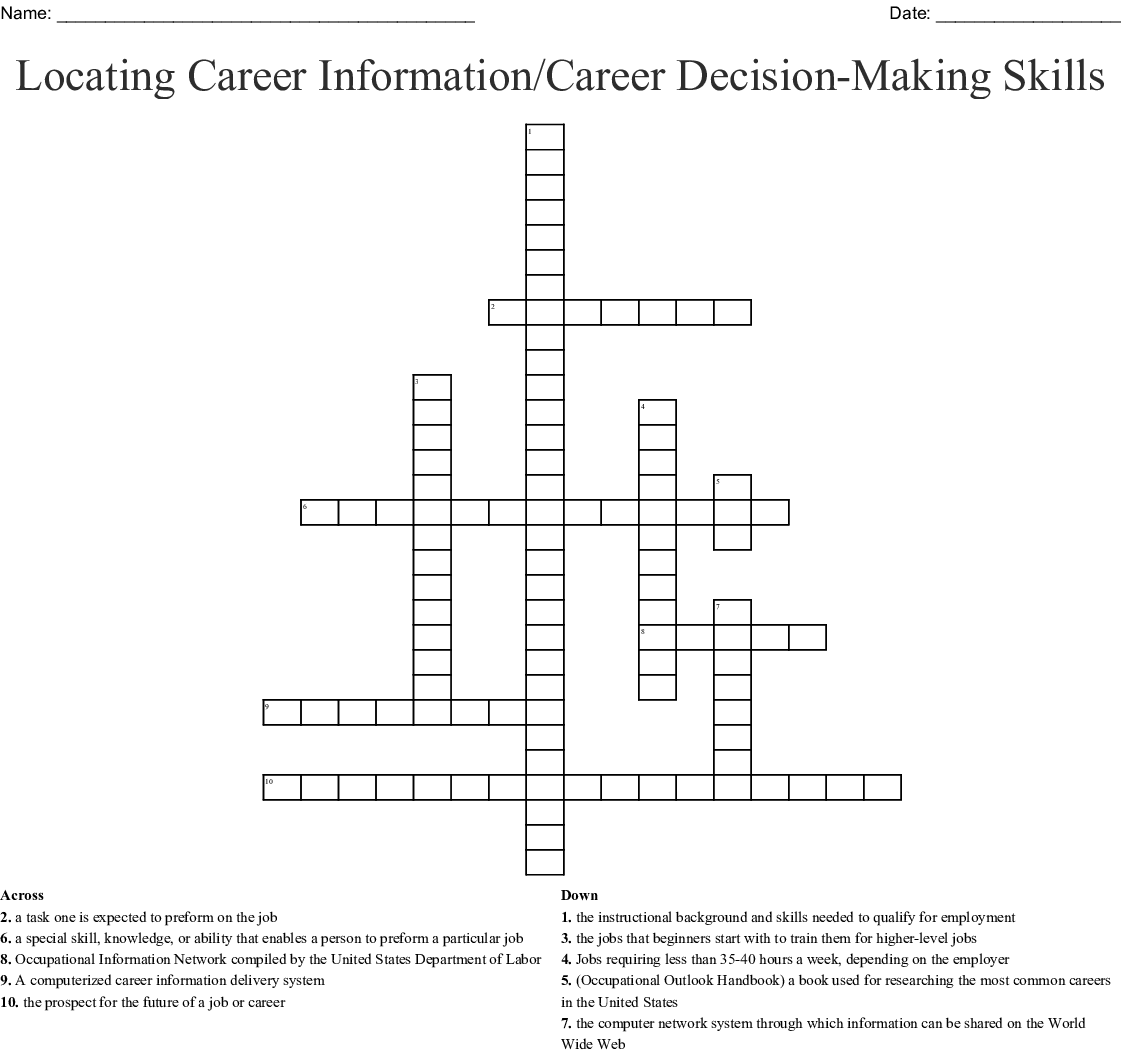Locating Career Information Career Decision Making Skills Crossword