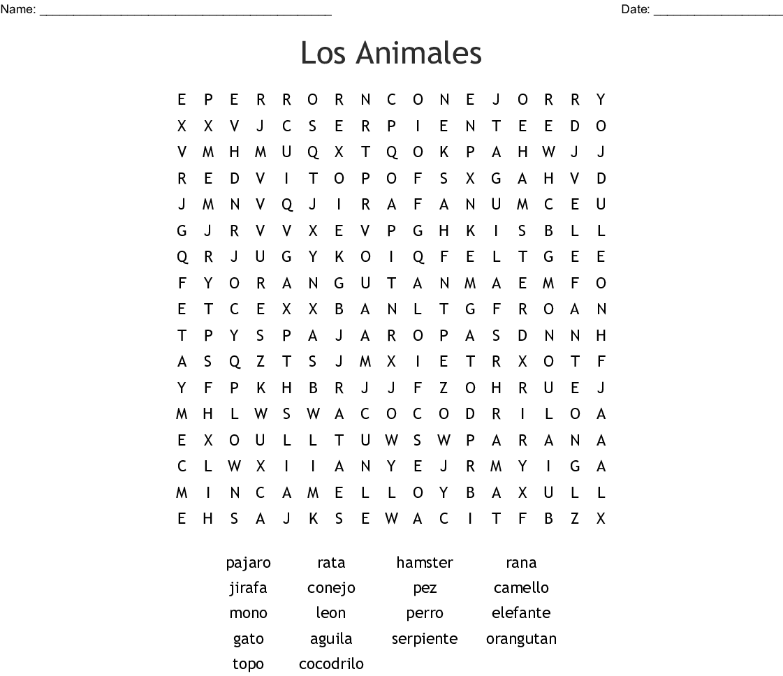 Los Animales Word Search