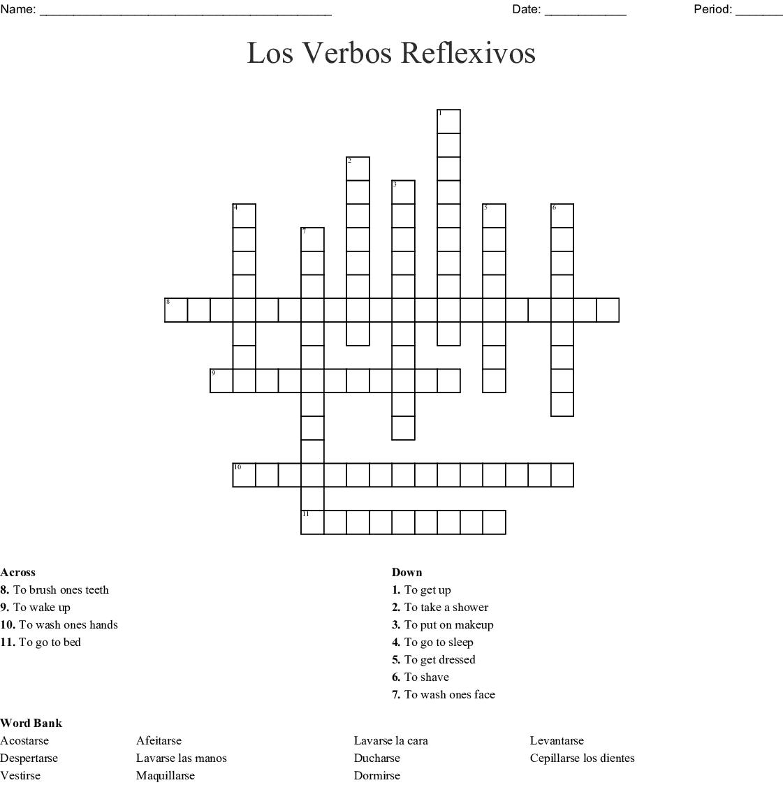 Los Verbos Reflexivos Crossword