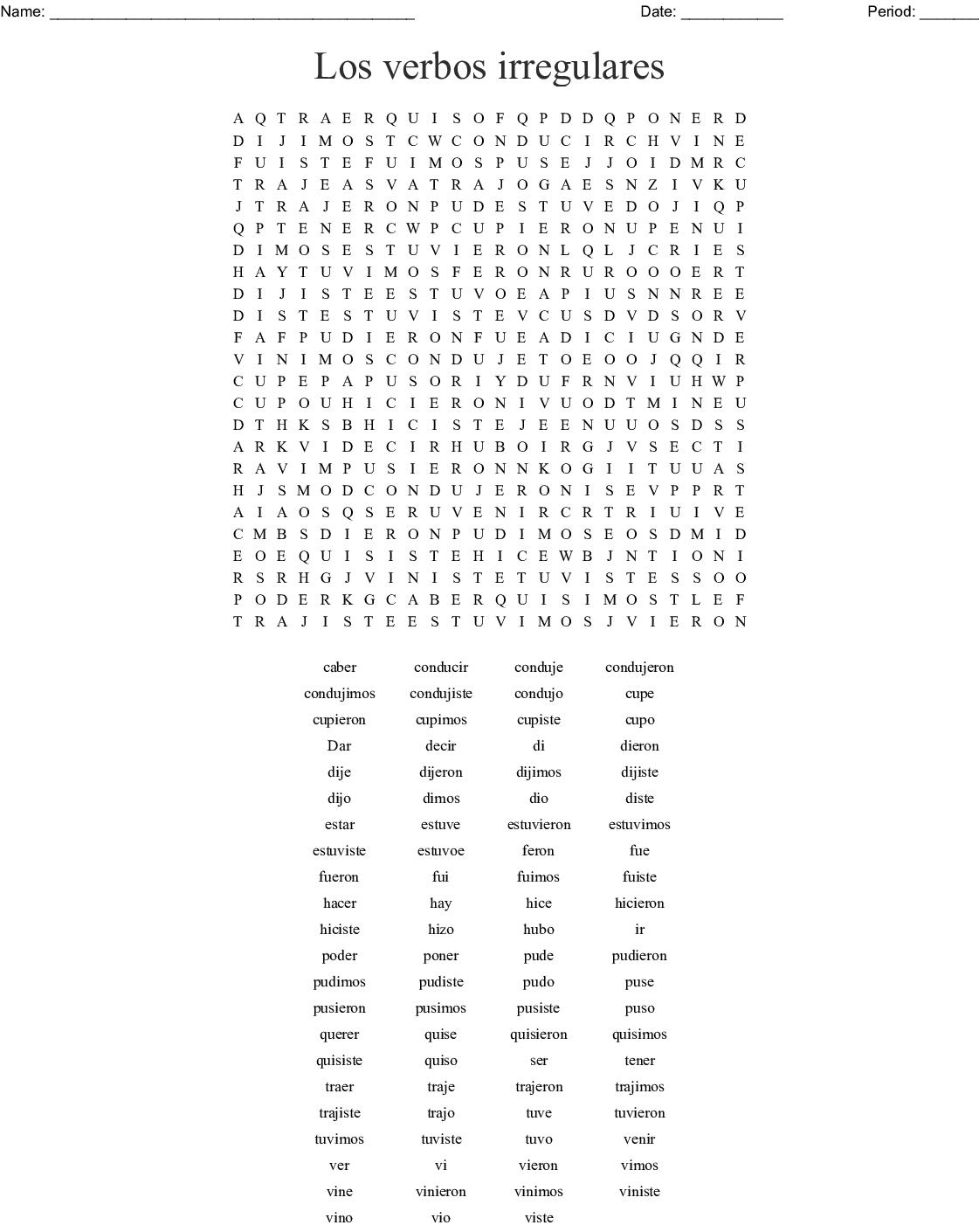 3a Preterito Irregular Busca Palabras Word Search