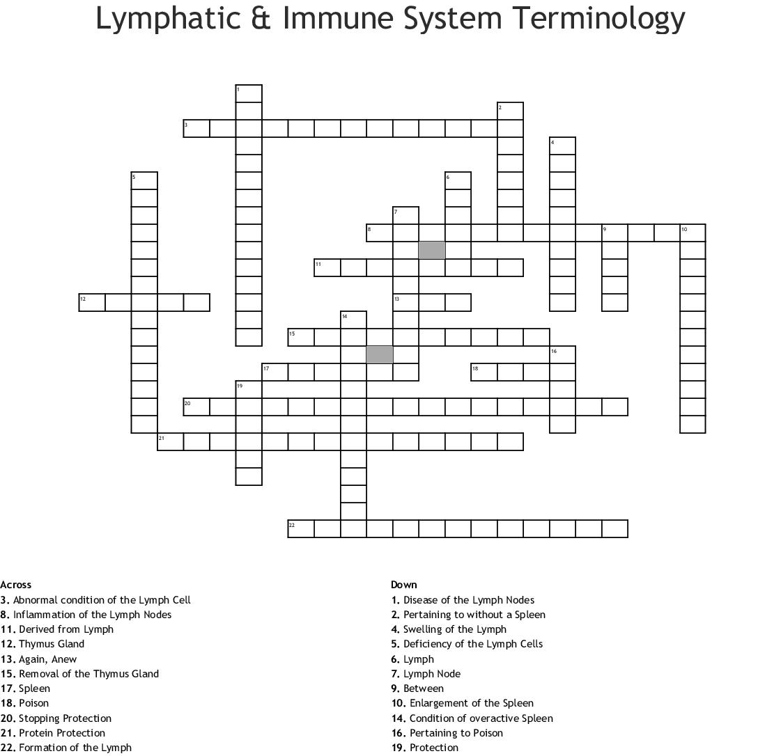Blood And The Lymphatic And Immune System Crossword