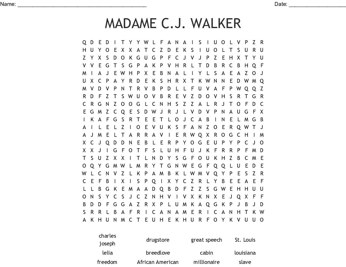 Madam C J Walker Word Search