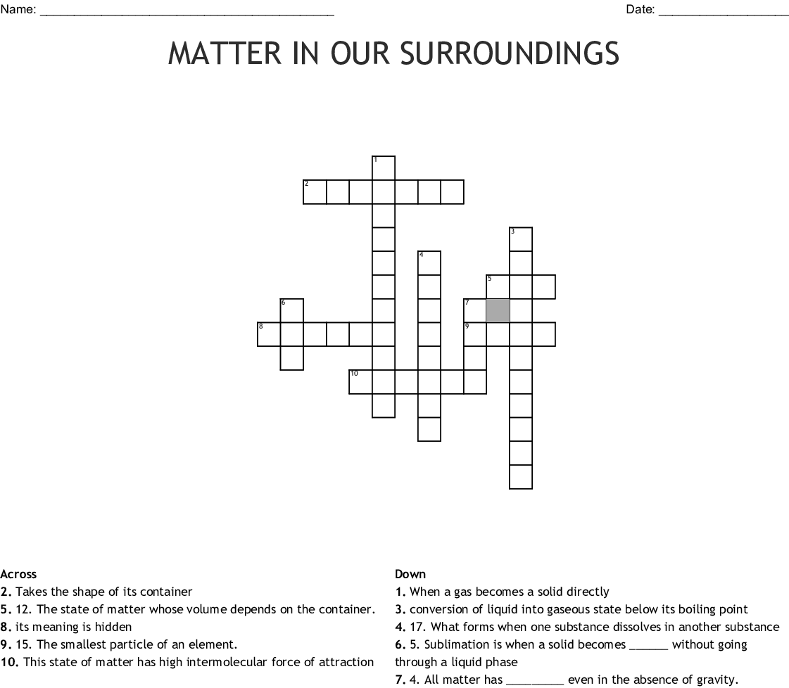 Science Matter Crossword
