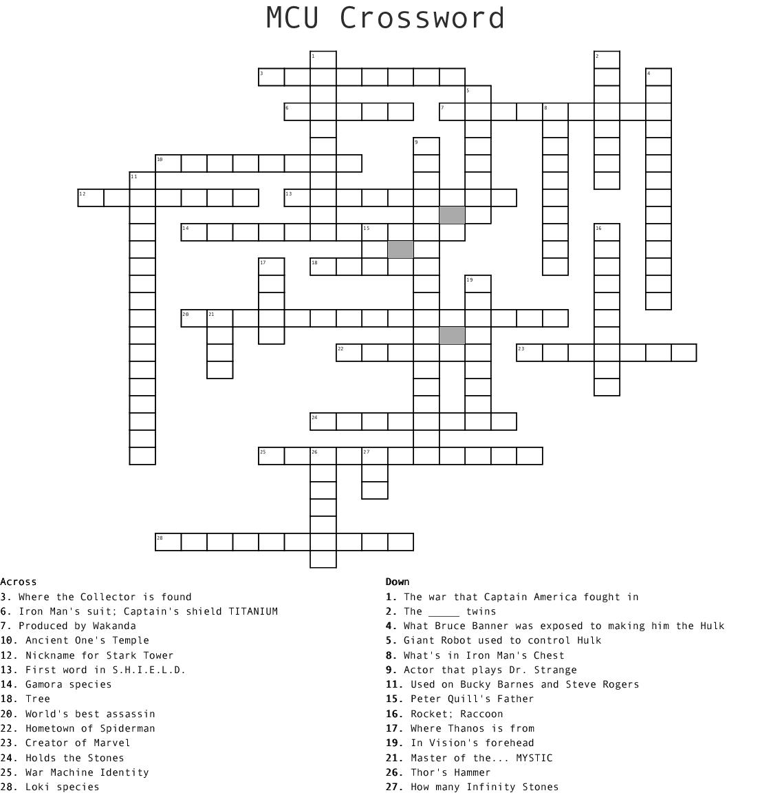 Marvel Crossword Puzzle