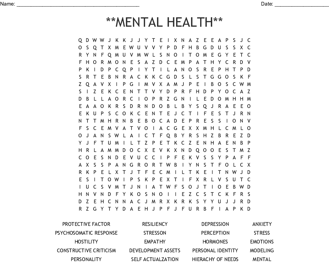 Mental Health Word Search