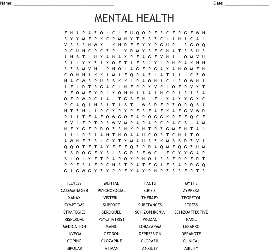 Psychotropic Medications Word Search
