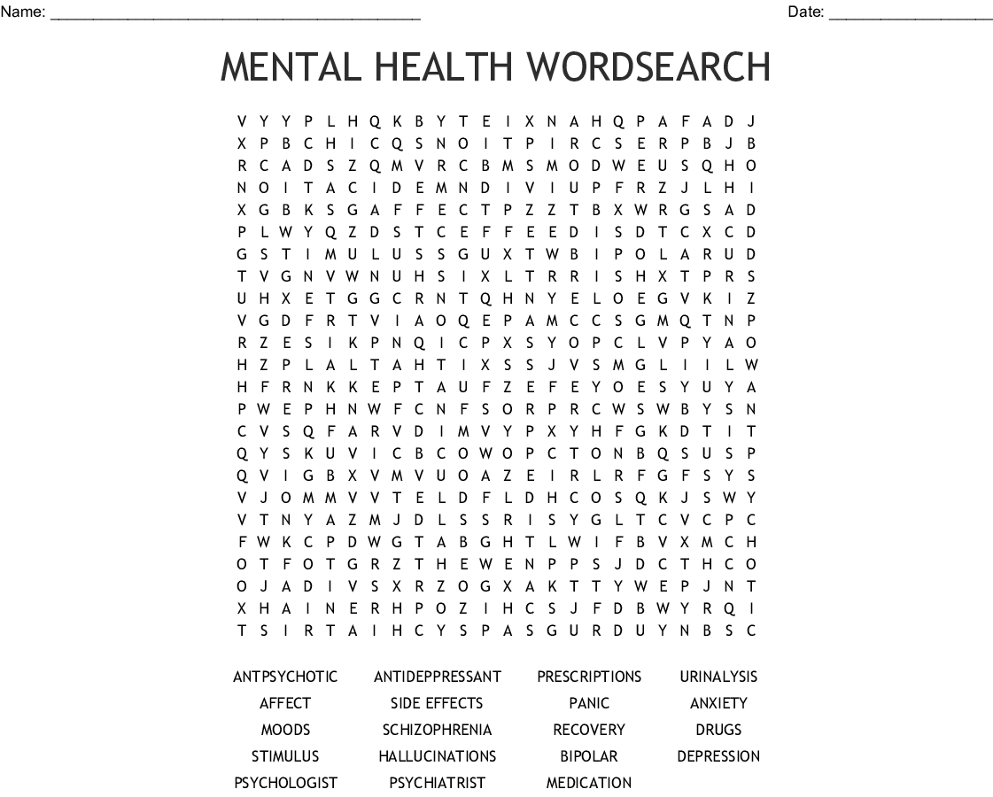 Mental Health Wordsearch