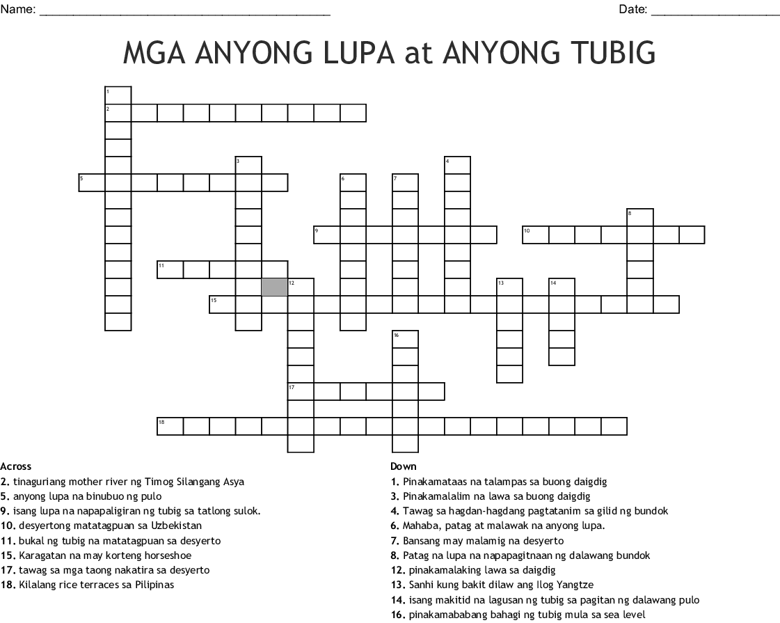 Tagalog Language Crosswords Word Searches Bingo Cards