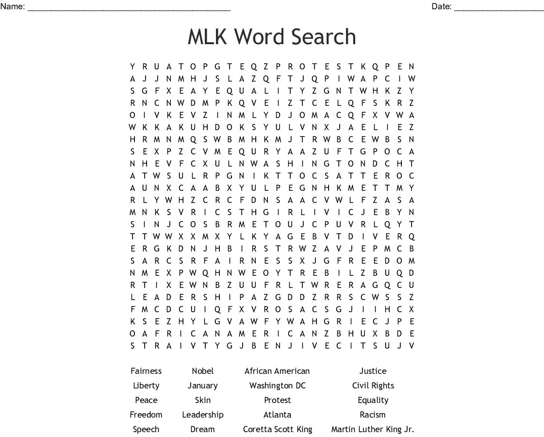 Mlk Word Search
