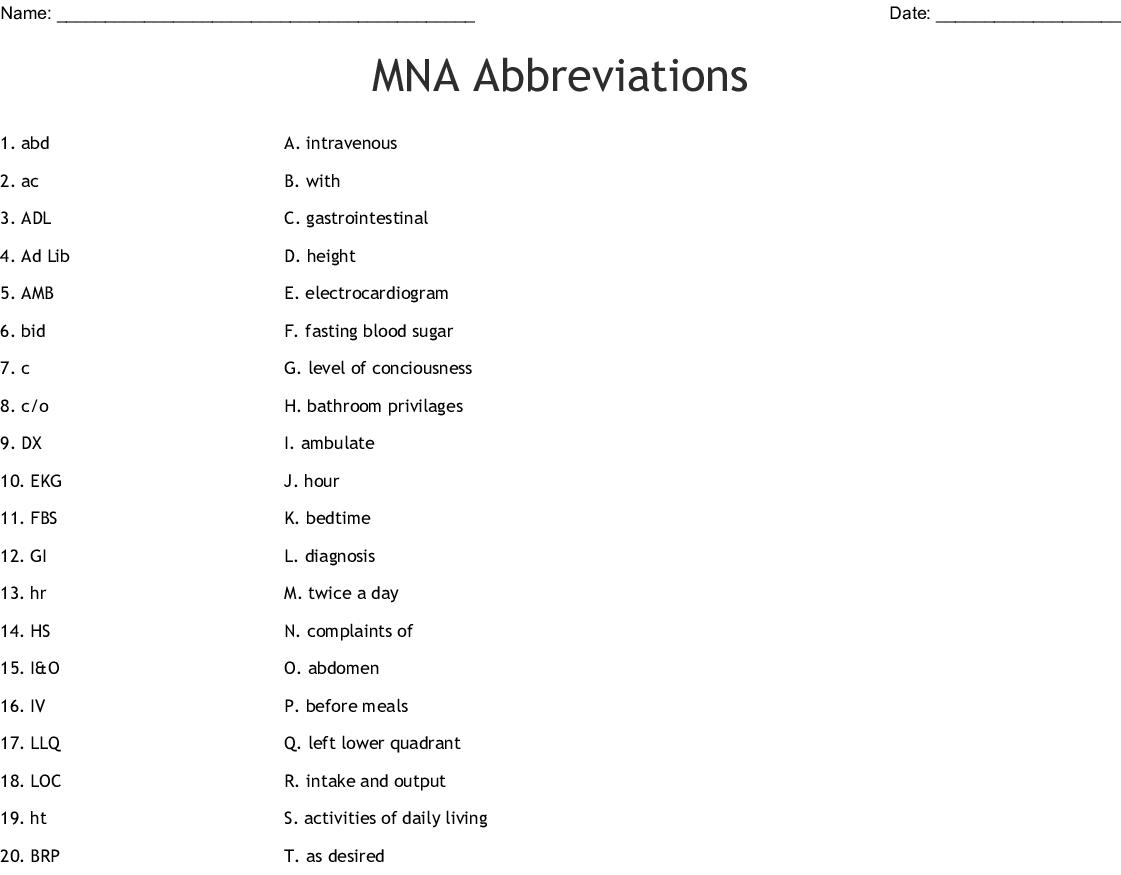 Mna Abbreviations Worksheet