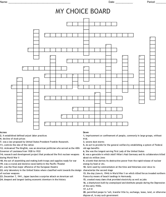 My Choice Board Crossword