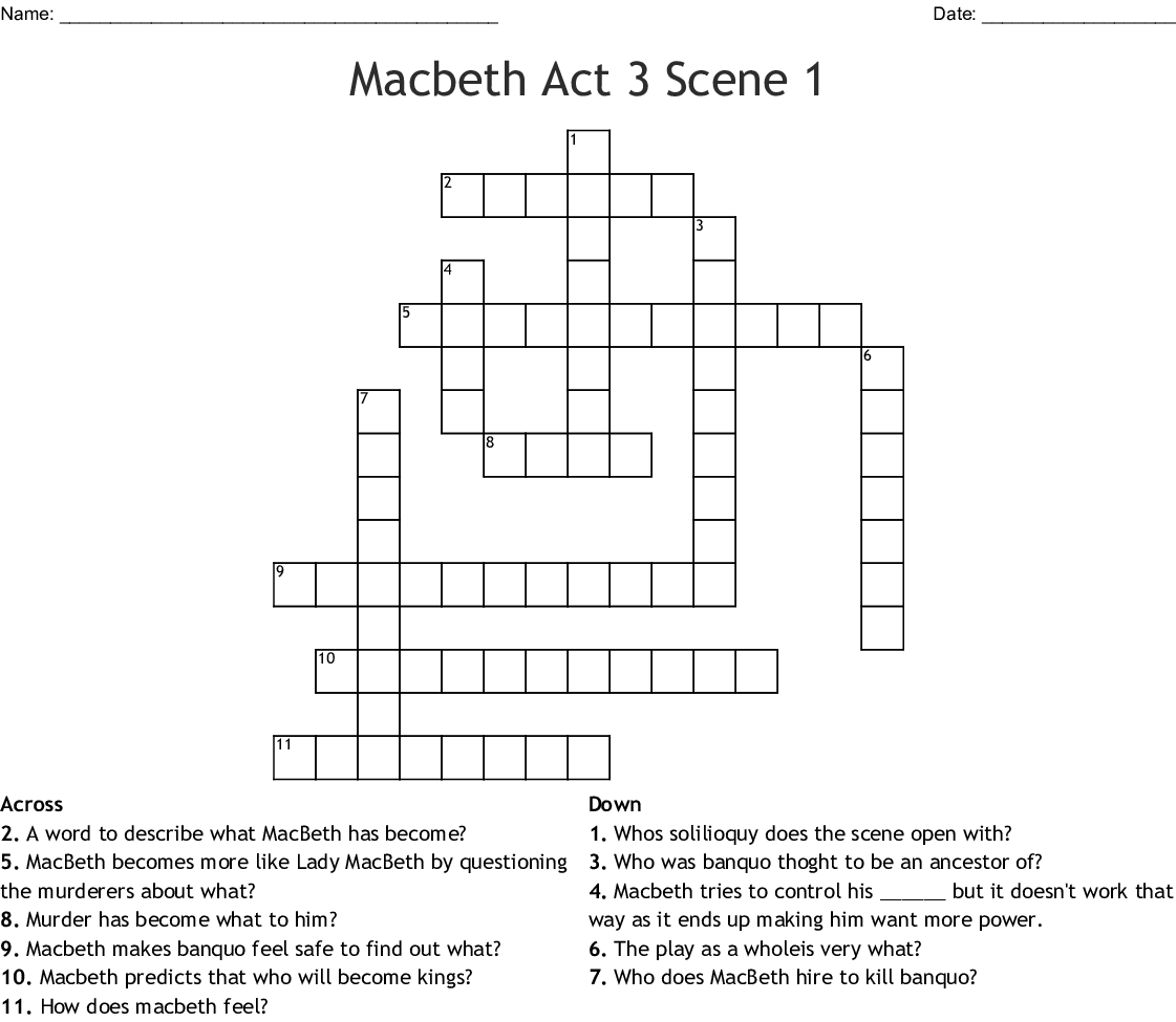 Macbeth Act 3 Scene 1 Crossword