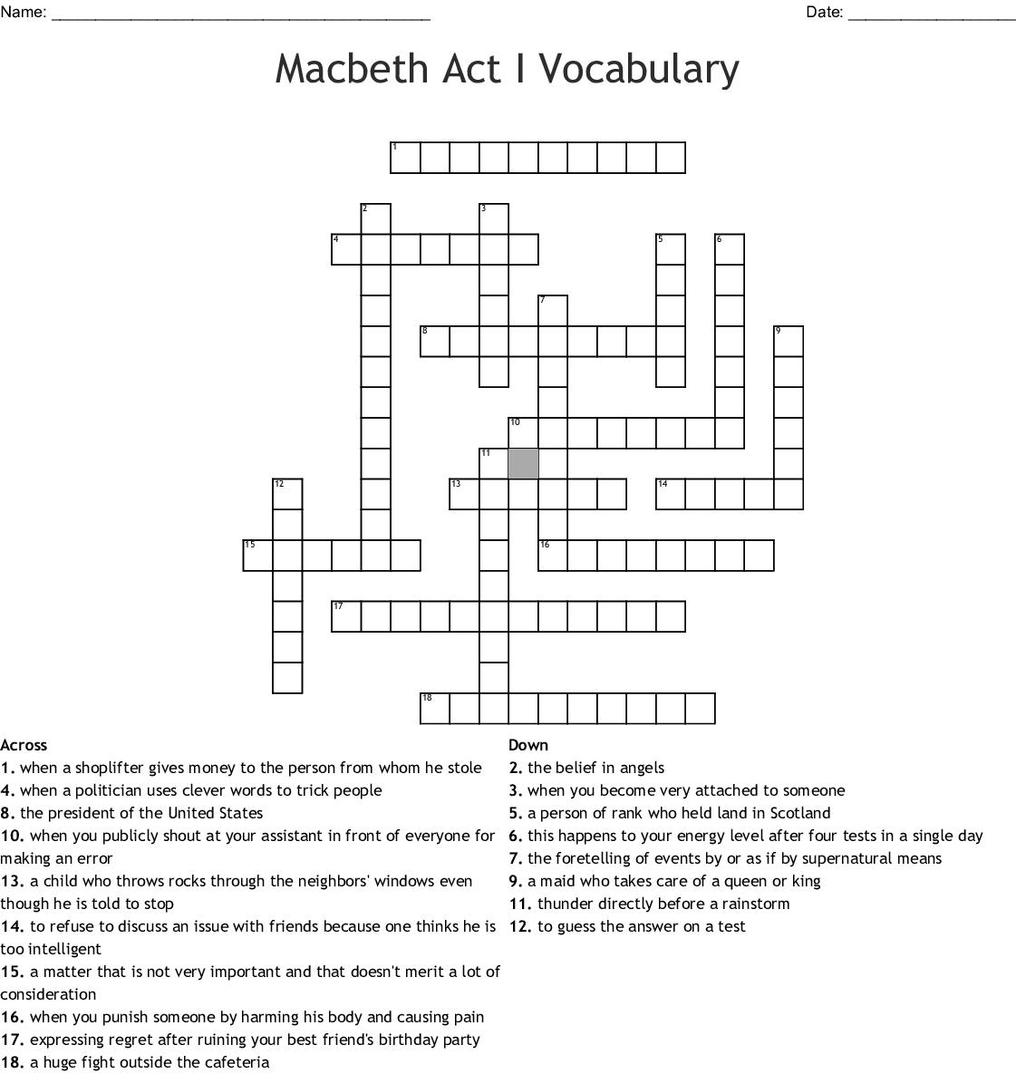 Macbeth Act I Vocabulary Crossword
