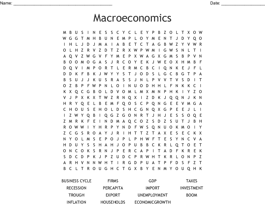 Macroeconomics Word Search